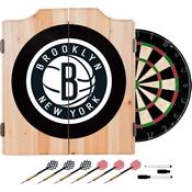 Brooklyn Nets NBA Wood Dart Cabinet Set
