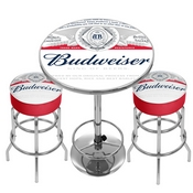 Budweiser Label Game Room Combo - 2 Bar Stools and Table