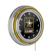 Neon Clock US Army neon clock bar clock Chrome Double Ring