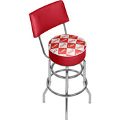 Red Checker Coca Cola Pub Stool with Back