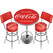Ultimate Coca-Cola Gameroom Combo - 2 Stools w/Back & Table-1