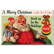 Coke Santa Merry Christmas w/ Elves - 16 x 24 Inches