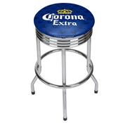 Corona Chrome Ribbed Bar Stool - Griffin