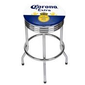 Corona Chrome Ribbed Bar Stool - Label