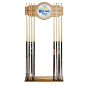 Corona Stained Wood Cue Rack with Mirror - Logo
