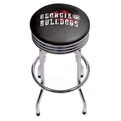 University of Georgia Chrome Ribbed Bar Stool - Smoke