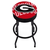 University of Georgia Black Ribbed Bar Stool - Wordmark