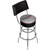 Corvette C6 Padded Bar Stool with Back - Black/Silver