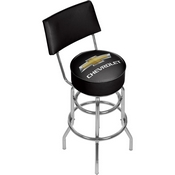 Chevrolet Padded Bar Stool with Back - Black/Silver