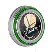 Guinness Chrome Double Rung Neon Clock  - Smiling Pint