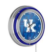 University of Kentucky Chrome Double Rung Neon Clock - Fade