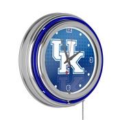 University of Kentucky Chrome Double Rung Neon Clock - Reflection