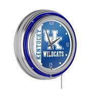 University of Kentucky Chrome Double Rung Neon Clock - Text