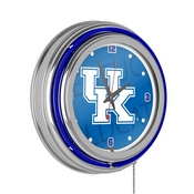 University of Kentucky Chrome Double Rung Neon Clock - Wordmark