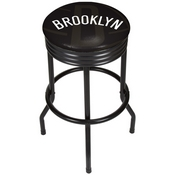 NBA Black Ribbed Bar Stool - Fade - Brooklyn Nets