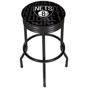 NBA Black Ribbed Bar Stool - City - Brooklyn Nets
