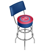 NBA Swivel Bar Stool with Back - City - Detroit Pistons