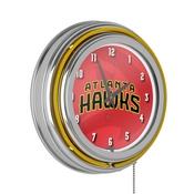 NBA Chrome Double Rung Neon Clock - Fade - Atlanta Hawks