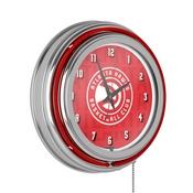 NBA Chrome Double Rung Neon Clock - City - Atlanta Hawks