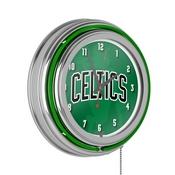 NBA Chrome Double Rung Neon Clock - Fade - Boston Celtics