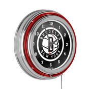Brooklyn Nets NBA Chrome Double Ring Neon Clock