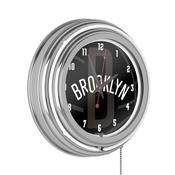 NBA Chrome Double Rung Neon Clock - Fade - Brooklyn Nets