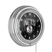 NBA Chrome Double Rung Neon Clock - City - Brooklyn Nets