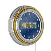 NBA Chrome Double Rung Neon Clock - Fade - Denver Nuggets