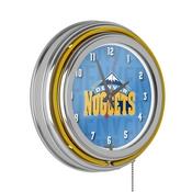 NBA Chrome Double Rung Neon Clock - City - Denver Nuggets