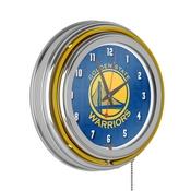 NBA Chrome Double Rung Neon Clock - City - Golden State Warriors