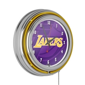 NBA Chrome Double Rung Neon Clock - Fade - Los Angeles Lakers