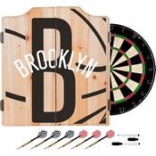 NBA Dart Cabinet Set with Darts and Board - Fade - Brooklyn Nets