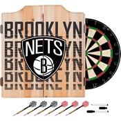 NBA Dart Cabinet Set with Darts and Board - City - Brooklyn Nets