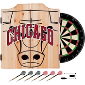 NBA Dart Cabinet Set with Darts and Board - Fade - Chicago Bulls