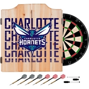 NBA Dart Cabinet Set with Darts and Board - City - Charlotte Hornets