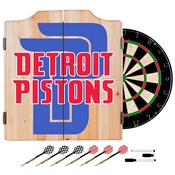 NBA Dart Cabinet Set with Darts and Board - Fade - Detroit Pistons