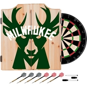 NBA Dart Cabinet Set with Darts and Board - Fade - Milwaukee Bucks