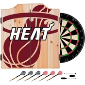 NBA Dart Cabinet Set with Darts and Board - Fade - Miami Heat