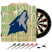 NBA Dart Cabinet Set with Darts and Board - City - Minnesota Timberwolves