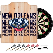 NBA Dart Cabinet Set with Darts and Board - City - New Orleans Pelicans