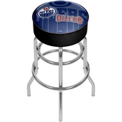 NHL Chrome Bar Stool with Swivel - Watermark - Edmonton Oilers