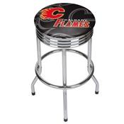 NHL Chrome Ribbed Bar Stool - Calgary Flames