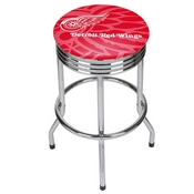 NHL Chrome Ribbed Bar Stool - Detroit Red Wings
