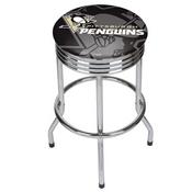 NHL Chrome Ribbed Bar Stool - Pittsburgh Penguins