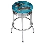 NHL Chrome Ribbed Bar Stool - San Jose Sharks