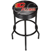 NHL Black Ribbed Bar Stool - Calgary Flames