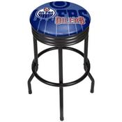 NHL Black Ribbed Bar Stool - Edmonton Oilers