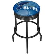 NHL Black Ribbed Bar Stool - St. Louis Blues