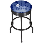 NHL Black Ribbed Bar Stool - Toronto Maple Leafs