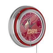 NHL Chrome Double Rung Neon Clock - Watermark - Arizona Coyotes